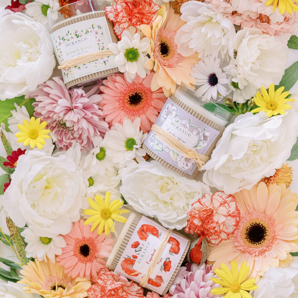 DURANCE-OComptoirdesPassions-VillemursurTarn--Fêtedesfleurs-bougies-coquelicot-jasmin-camelia